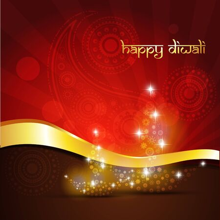 beautiful diwali diya on golden vector background Vector