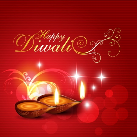 artistic diwali background with florals Vector