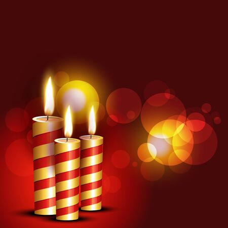 beautiful candles on red background Vector