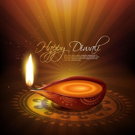 indian light: bellezas art�sticas diwali diya ilustraci�n vectorial Vectores