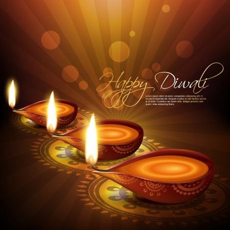 artistic hindu diwali festival vector background Vector