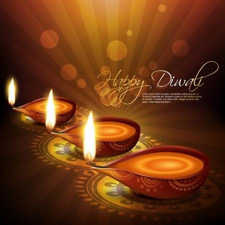 artistic hindu diwali festival vector background Vector