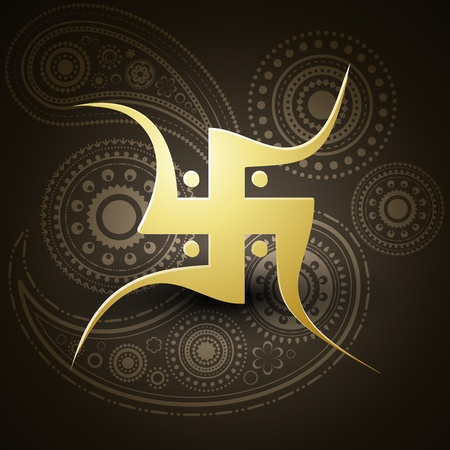 vector golden swastik symbol on dark background Stock Vector - 11004420