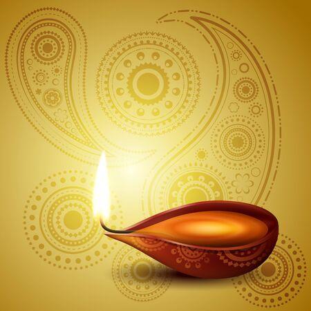 indian light: hermosa hind� Diwali festival de arte vectorial