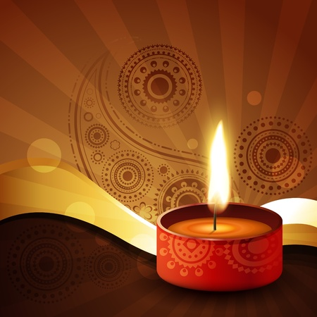 diwali diya on stylish vector background