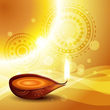 beautiful diya on golden vector background