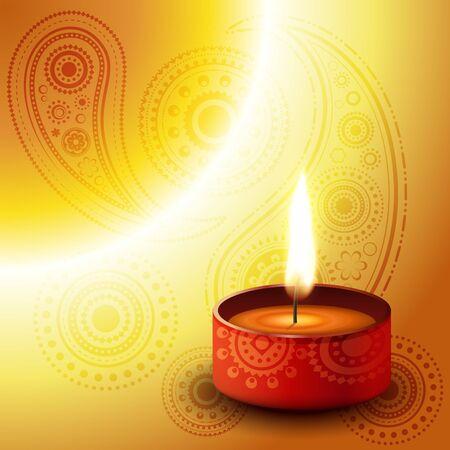beautiful diwali diya on golden background Stock Vector - 11004389