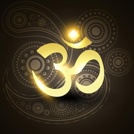 hindu goddess: beautiful vector golden om symbol