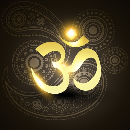 hinduismo: s�mbolo de om hermoso vector de oro