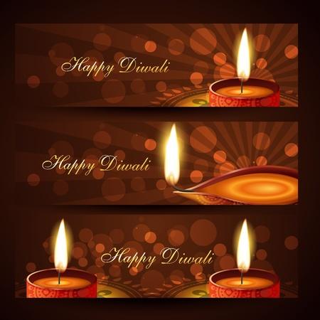 beautiful set of diwali headers Stock Vector - 11004479