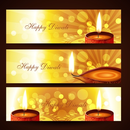 stylish set of diwali headers Stock Vector - 11004478