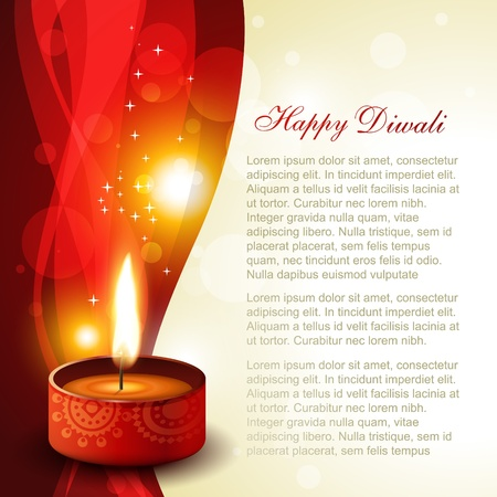 diwali diya on artistic glowing background Vector