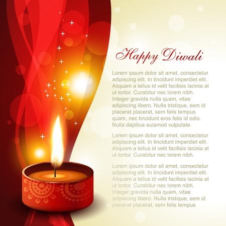 diya: diwali diya on artistic glowing background Illustration