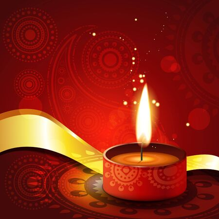 beautiful artistic diwali diya vector illustration Vector