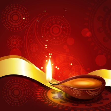 beautiful hindu diwali diya festival vector art  Vector