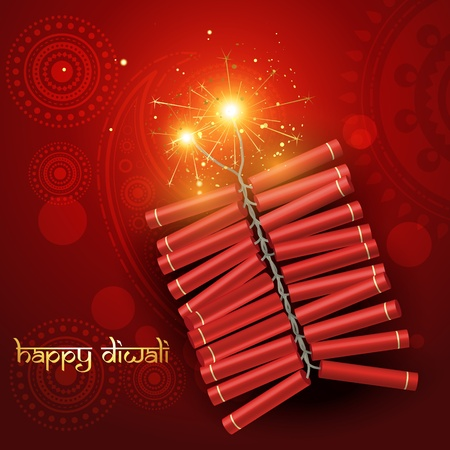 diwali festival crackers on artistic red background Stock Vector - 11004466