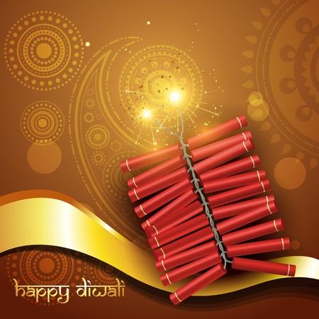 artistic diwali crackers vector background Vector