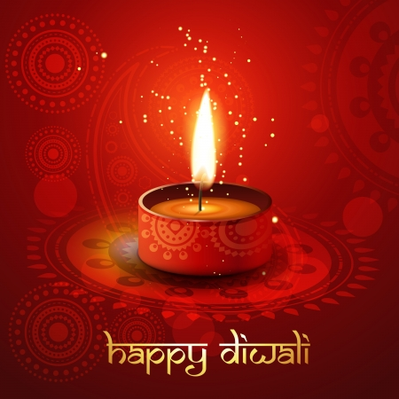 diwali diya on stylish vector background Stock Vector - 11004390