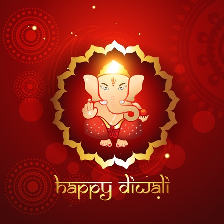 hindu lord ganesh illustraton Vector
