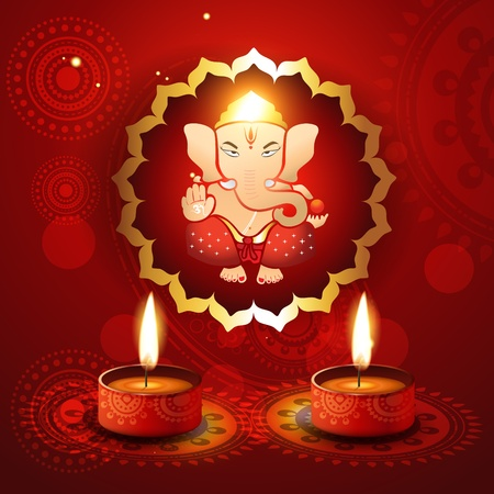 incarnation: hindu lord ganesh with diya vector illustraton Illustration