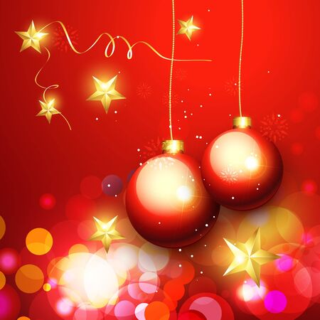 baclground: stylish christmas ball hanging on red baclground