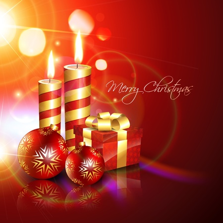 beautful christmas background with candle and gift box