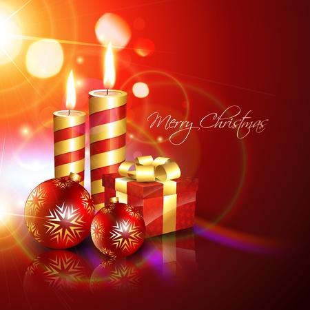 muerdago navide�  � �±o: preciosa de fondo de Navidad con velas y caja de regalo