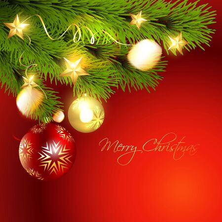 stylish christmas background with hanging ball Stock Vector - 11589200