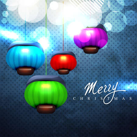 stylish merry christmas colorful glowing lamps Vector