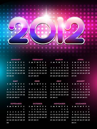 calender design: vector colorful happy new year calender design