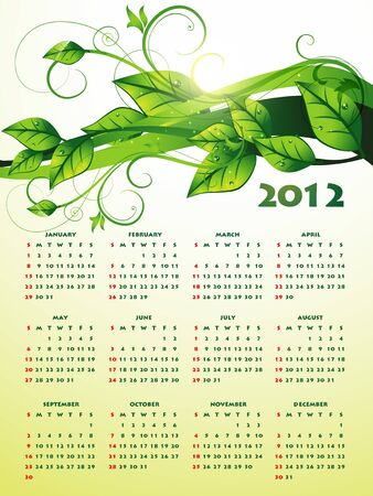 calender design: eco green happy new year calender design