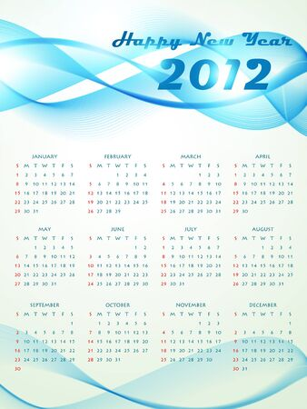 calender design: vector wave style new year calender design