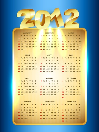 vector golden new year calender Stock Vector - 11780664