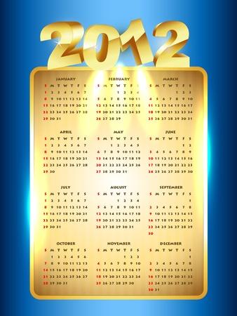 vector golden new year calender Stock Vector - 11780664