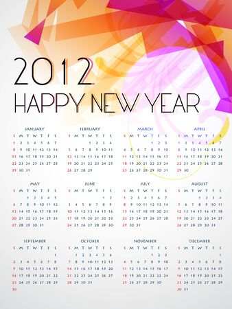 calender design: stylish colorful happy new year calender design