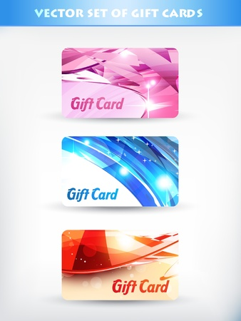 vector set of gift cards 01 Vector