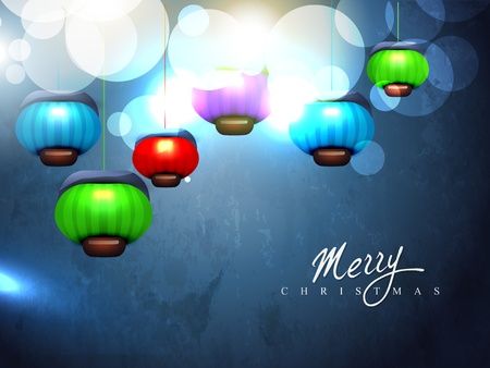 vector christmas lamps on blue night background Vector
