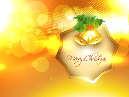 stylish merry christmas design on golden background Vector