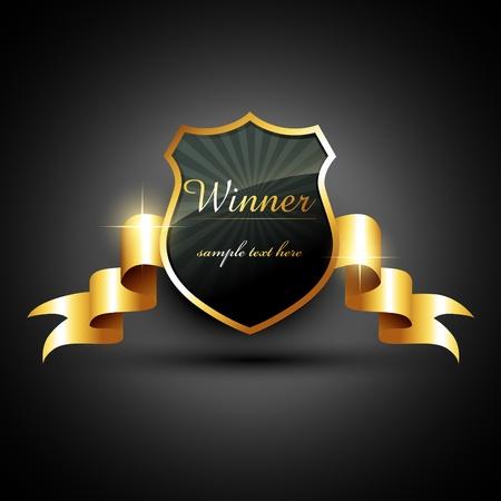 trophy winner: vektor, vítěz zlaté štítek znamení s prostorem pro váš text