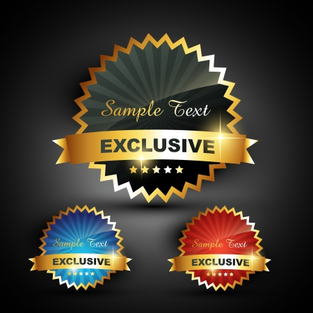 announcement icon: vector golden exclusive label sign Illustration