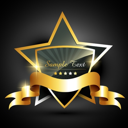 star award: beautiful golden label style vector
