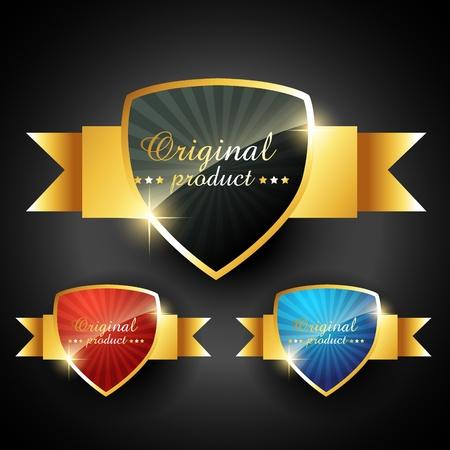 premio cinta: elegante etiqueta brillante vector de oro