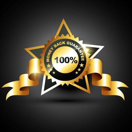 advantages: stylish golden money back guarantee label sign Illustration