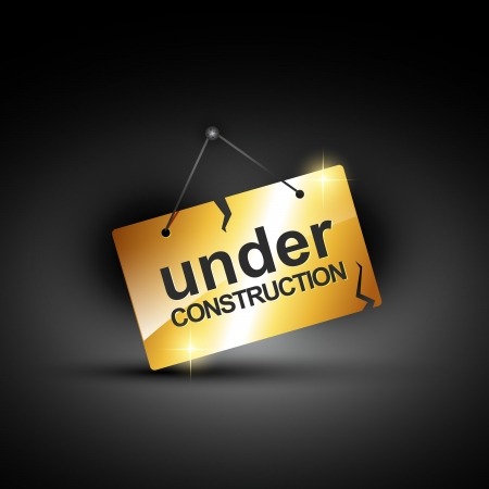 construction nails: vector under construction sign in shiny golden color Illustration