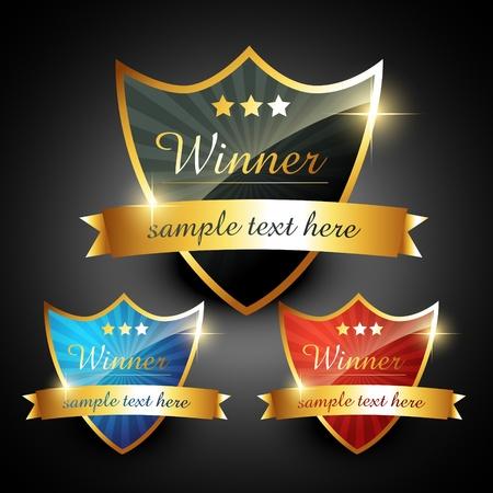 trophy winner: vítěz lesklý zlatý vektorové popisek
