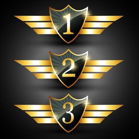 vector shiny golden ranking label