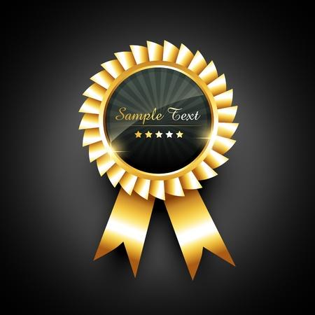 remise de prix: vecteur �tiquette dor�e avec ruban Illustration