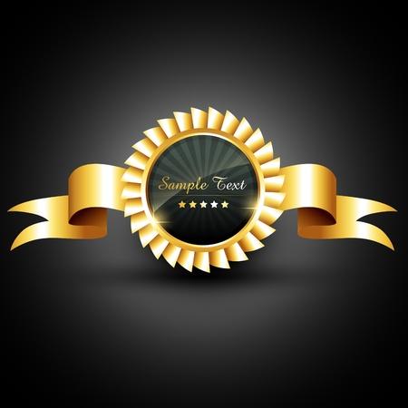 premios: vector de oro con la cinta de la etiqueta