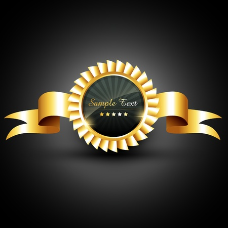 premi: vettore etichetta dorata con nastro