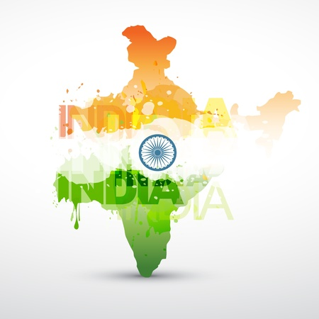 map of india: india map with indian flag